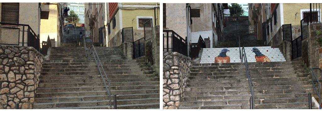El antes y el después de las escaleras